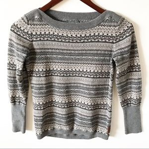 Roots Canada Fair Isle Grey Sweater Med 7-8 years